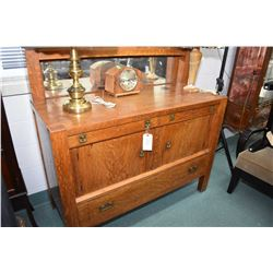 Antique quarter cut oak Mission style sideboard with three drawers and two doors, topped with mirror