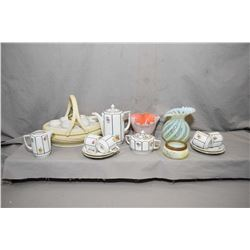 Selection of porcelain and glass collectibles including Dresden Saxony demitasse tea set with four c