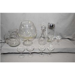 Vintage martini set with shaker and four glasses plus a set of champagne glasses, matching decanter