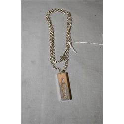 "22"" sterling silver belcher neck chain and sterling ingot marked with British hallmarks"
