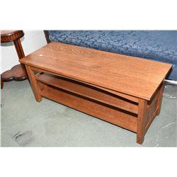 Modern quarter cut oak Mission style coffee table