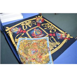 """Two Authentic Hermes scarves including """"Grand Uniforme"""" silk scarf and 100% silk chiffon """"Pierres d'"""