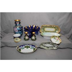 """Selection of collectibles including 9"""" lotus flower cloisonn' vase, a pair of 4"""" vases, plus fluted"""