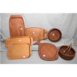 Selection of mid century treenware including Johnson Brickan Swedish teak tray, teak tray made in Fi