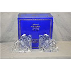 """New in box Bohemia crystal center bowl 9"""" in diameter and a pair of crystal bookends"""
