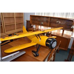Large scale wood and fabric flying model bi-plane, does not appear to have been flown