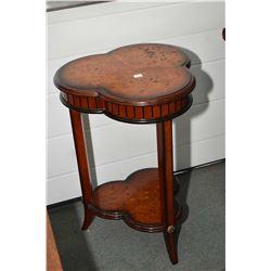 Modern three leg matched grain burl walnut occasional table
