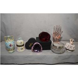 Selection of vintage and antique dressing table pieces including dresser jar with sterling lid, smal