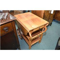 Maple drop leaf tea wagon with single drawer