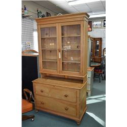 Canadiana pine kitchen cabinet with double drawer base and double glazed topper