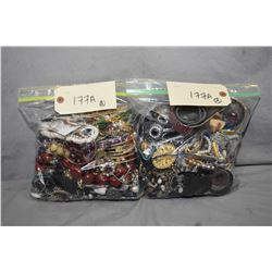 Two bags of vintage and collectible costume jewellery including necklaces, bracelets, earrings etc.