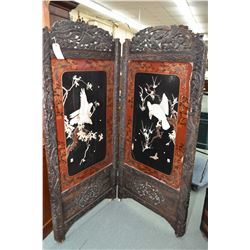Antique Oriental inlaid and applied shell and natural stone carvings depicting florals and birds, pl