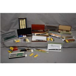 Two tray lots of a large selection of semi contemporary pen sets including Daniel Hechter, boxed Can