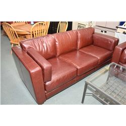 Ox blood leather full sized sofa