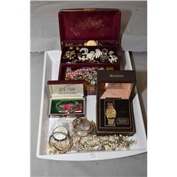Tray lot of collectible costume jewellery including 14kt gold Lady Elgin watch in original box, vint