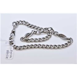 "Antique English sterling silver watch chain with individually hallmarked links, 13"" in length"