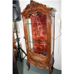 French display cabinet with three glazed sides including bevelled glass door with carved panel and t