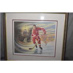 "Framed limited edition print ""Mr. Hockey"" Gordie Howe, pencil signed by artist James Lumbers, 649/99"