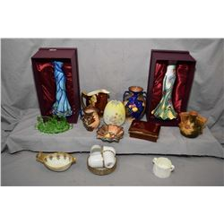 "Two boxed Beraya dress vases including ""Starry Night"" and a garden themed vase 11"" in height each pl"