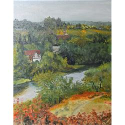 "Framed acrylic on board painting of a home in a river valley signed by artist Crane Thomas, 20"" X 16"