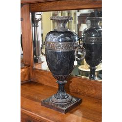 Large slate double handled urn on bronze base with bronze accents, note do not lift by handles, 26""