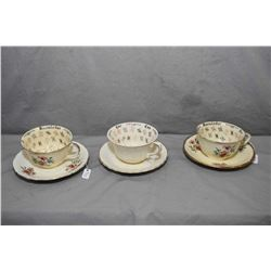 "Three vintage Alfred Meakin ""Cup of Knowledge"" tea cups and saucers"