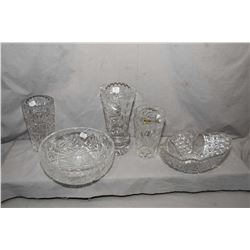 "Five pieces of cut crystal including 10"" diameter round bowl, brilliant cut and coneflower etched ob"