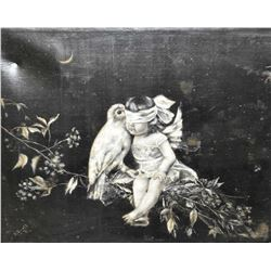 Antique framed Victorian black and white painting of a small child and a bird, signed by artist. Not