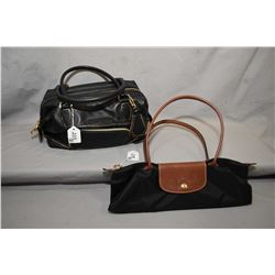 "Longchamps leather ""model depose"" purse and Longchamps Le Pliage leather and nylon tote"