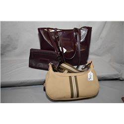 Two Longchamps bags including canvas shoulder bag and maroon patent tote bag with matching attachabl