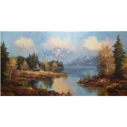 "Large framed oil on canvas mountainscape signed by artist C.K (?), 24"" X 48"""