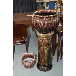 "Antique majolica stand and co-ordinating plant pot, overall height 44"" plus a smaller majolica pot 9"