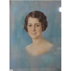 "Gilt framed original pastel on paper portrait titled ""Mary Katherine Pearce"" by American artist Will"