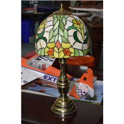 Pair of brass table lamps with floral motif leaded and slag glass shades