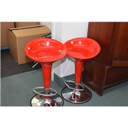 Set of two retro style gloss red adjustable swivel bar stools