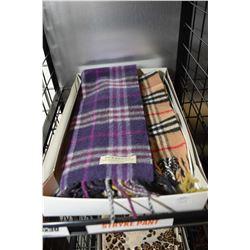 Three Burberry scarves including 100% cashmere scarf, wool and cashmere scarf and a wool scarf