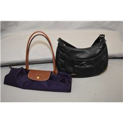 Longchamps black leather purse and LePliage leather and nylon shopper