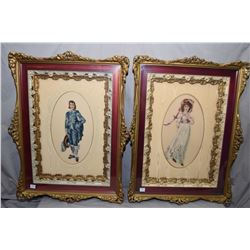 Pair of framed petit points of Gainsborough's Pinky and Blue Boy