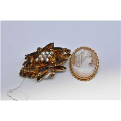 English 9ct yellow gold carved cameo brooch and a vintage crystal costume brooch