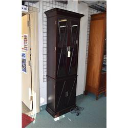 "Modern display cabinet with bottom storage and lattice style glazed upper illuminated display, 86"" i"