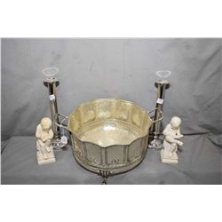 """Large lacquered silver-plate footed bowl 12"""" in diameter and two Italian reading cherub bookends and"""