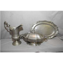 Three pieces of vintage Finstain pewter including lidded tureen, under tray and a pitcher