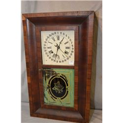 Antique wood cased chiming mantle clock with lithographed panel, two dial paper face including inner