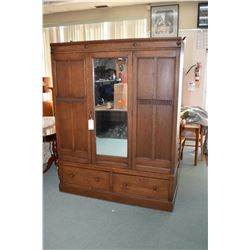 """Large antique oak wardrobe with single mirrored door and double drawer base, 77"""" in height"""