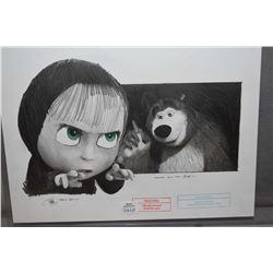 """Unframed original pencil drawing from """"Masha and the bear"""" signed by artist Robert Bailey, 10"""" X 14"""""""