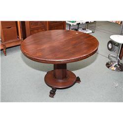 Antique tilt top dining table with octagonal column center pedestal