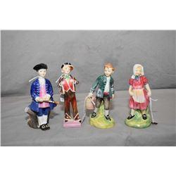 Four Royal Doulton figurines including Jill HN1949, Boy From Williamsburg HN2183, Pearly Boy HN2035