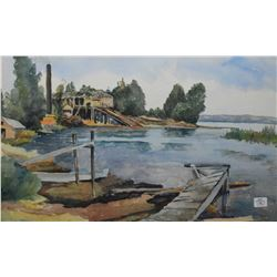 """Framed watercolour painting of an abandoned fisheries, artist signature not found, 14"""" X 21"""""""