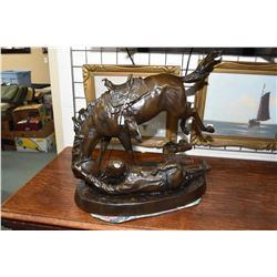 """Fredric Remington bronze """"The Wicked Pony"""" featuring a horse throwing it's rider, 26"""" X 13"""" X 20"""" ov"""