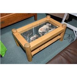 Country motif pine coffee table with under shelf, featuring bear motif diorama under glass